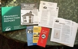 Our report binder, brochures, and home maintenance book